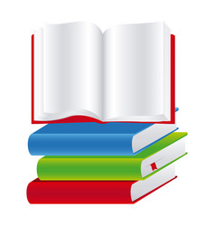 colorful set stack school books with open book vector image