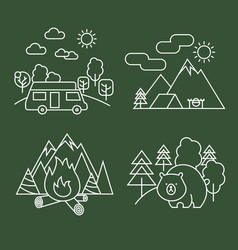 forest activity linear icons thin line vector image