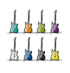 Set of guitars sketch for your design vector image vector image
