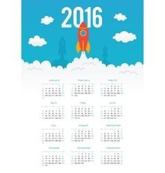 Starting rocket 2016 year calendar template vector image vector image