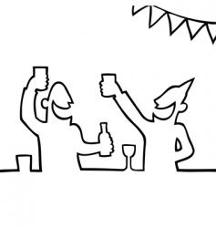 two people partying with drink vector image vector image