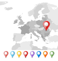 EU map with pins vector image vector image