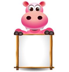 funny hippopotamus cartoon with blank sign vector image vector image