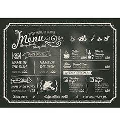 Restaurant Menu Design on Chalkboard Background vector image