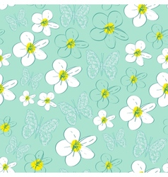 Seamless pattern with white flowers on a blue vector image
