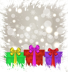 Set Christmas gift boxes on glowing background vector image vector image