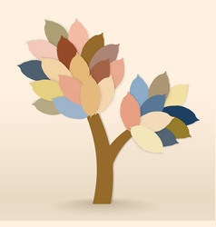 tree with leaves on warm background vector image