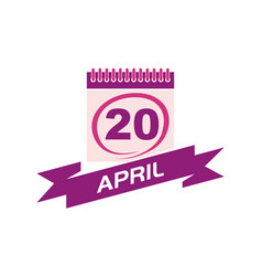 20 april calendar with ribbon vector