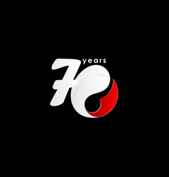 70 years anniversary celebration number red vector