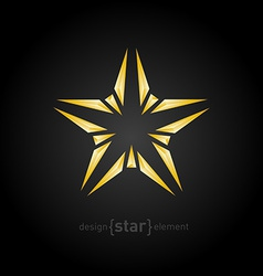 abstract broken gold star on black background vector image