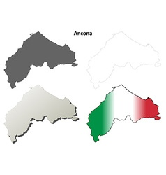 Ancona blank detailed outline map set vector