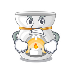Angry aroma lamp with burning candle mascot vector