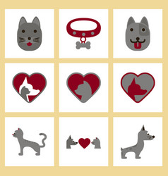 Assembly flat icons dogs cats pets vector