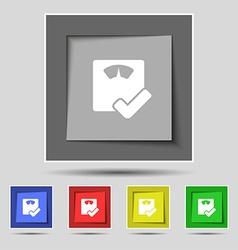 Bathroom scales icon sign on original five colored vector