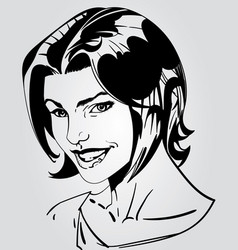 Beautiful fictional girl with boy cut hair smiling vector