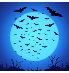 Black bats silhouettes on big blue moon at dark vector