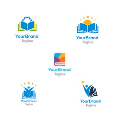 book logo bundle template vector image