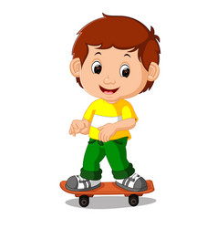 boy playing skateboard cartoon vector image