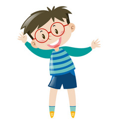Boy with glasses wearing blue shirt vector