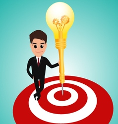Businessman in target area whit dart lightbulb vector image