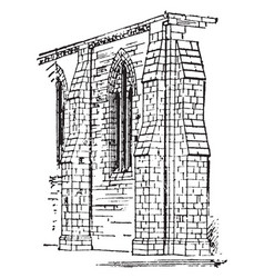 Buttress built vintage engraving vector