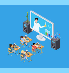 children science experiment isometric chemistry vector image