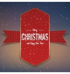 Christmas big red and gold Banner with Ribbon vector image vector image