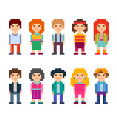 Collection of cute characters pixel style vector