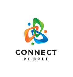 colorful abstract connect people logo design vector image