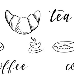 croissant sketch hand drawn seampless pattern vector image