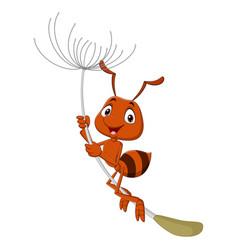 Cute ant cartoon flying with dandelion vector