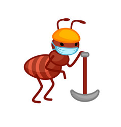 Cute ant with a pickaxe is leaning on it wearing vector