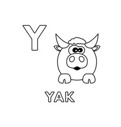 Cute cartoon animals alphabet yak coloring vector
