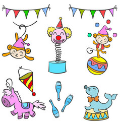 Cute doodle circus element collection vector