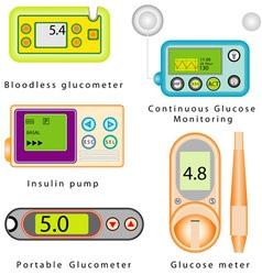 Diabetes equipment set vector image