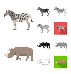 different animals cartoonblackflatmonochrome vector image