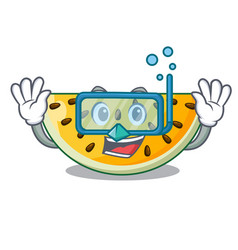 diving sliced yellow watermelon on character vector image
