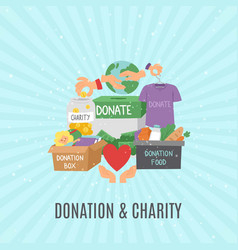 Donate and help symbols charity organization vector