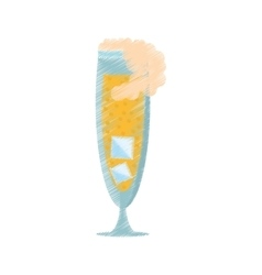 Drawing glass cup champagne bubbles ice vector