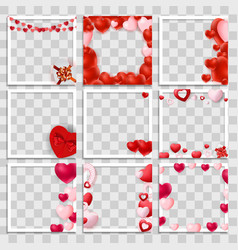 Empty blank photo frame 3d set with hearts vector