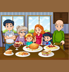 Family having meal together in dining room vector