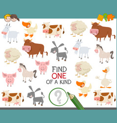 Find one of a kind of farm animals vector