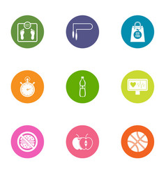 Fitness exercise icons set flat style vector