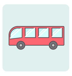 flat outlone red bus icon vector image