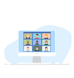 flat style online video connection on monitor vector image