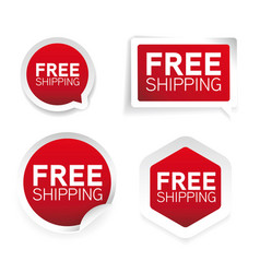 free shipping red label sticker vector image