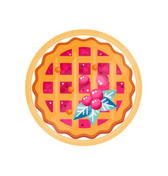 Fresh cranberry pie on a plate vector