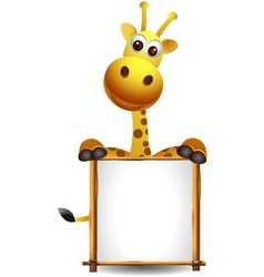 Funny giraffe cartoon with blank sign vector