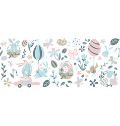 Funny happy easter eggs hunt seamless pattern vector
