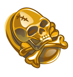Gold pirate symbol in the form of human skull and vector